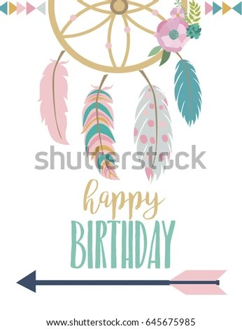 Happy Birthday Card Template Wreathfeather Arrow Stock Vector
