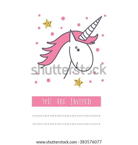 Happy Birthday Card Unicorn Baby Shower Stock Vector (Royalty Free
