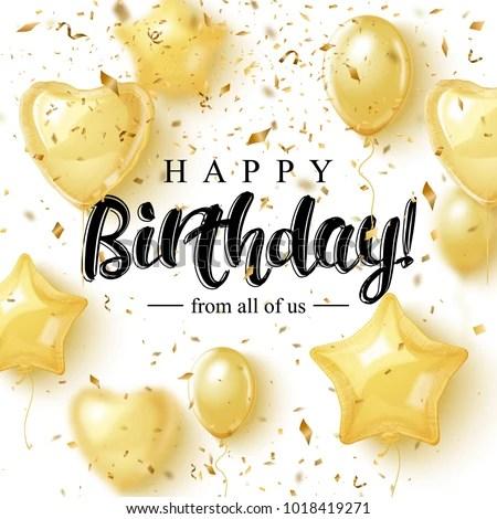 Happy Birthday Greeting Card Design Golden Stock Vector (Royalty