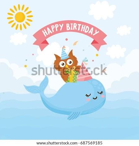 Happy Birthday Greeting Card Kids Illustration Stock Vector (Royalty