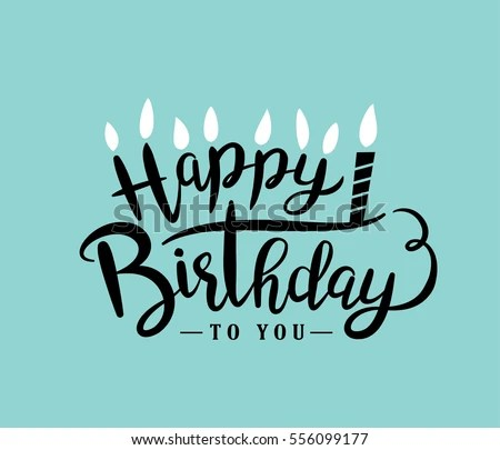 Happy Birthday Greeting Card Lettering Design Stock Vector (Royalty