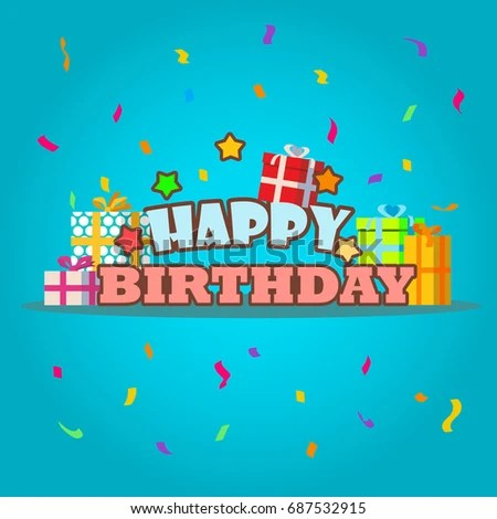 Happy Birthday Greeting Card Template Gift Stock Vector (Royalty