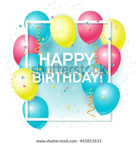 Happy Birthday Greeting Card Volume Colored Stock Vector (Royalty