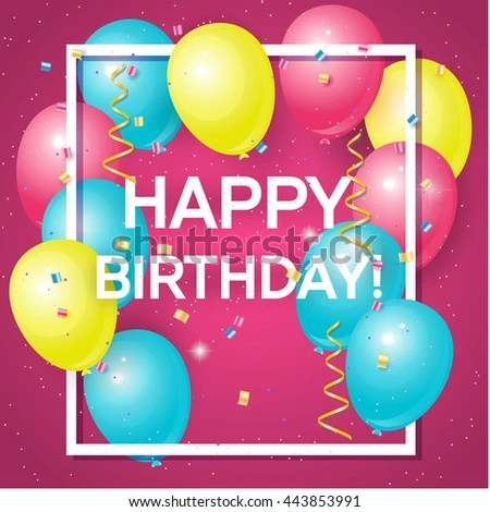 Happy Birthday Greeting Card Volume Colored Stock Vector (Royalty - Birthday Card Sample