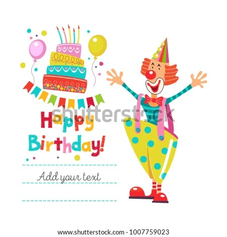 Happy Birthday Greeting Template Set Holiday Stock Vector (Royalty