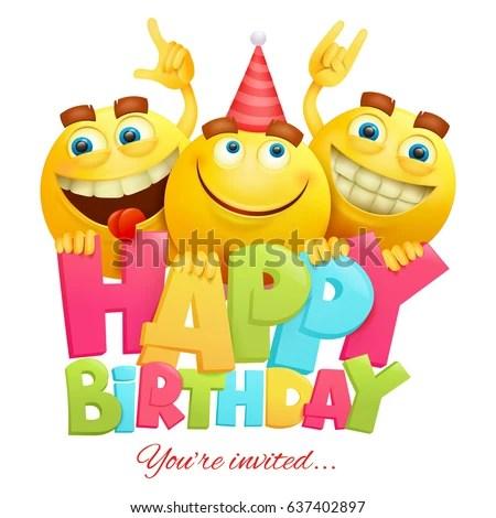 Happy Birthday Invitation Card Template Three Stock Vector (Royalty