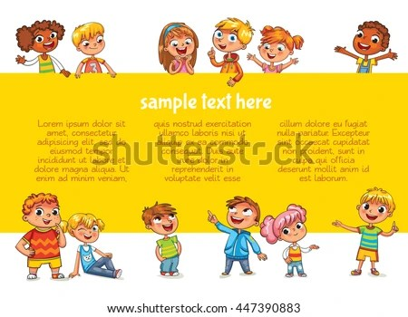 Happy Children Holding Blank Poster Template Stock Vector (Royalty
