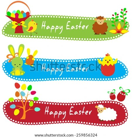 Happy Easter Card Template Basket Colored Stock Vector (Royalty Free