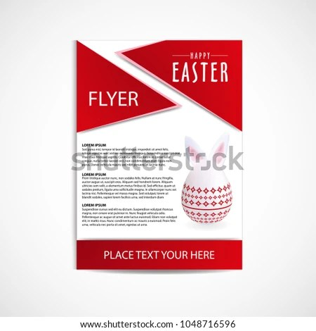 Happy Easter Day Flyer Template Vector Stock Vector (Royalty Free