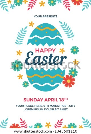 Happy Easter Flyer Template Stock Vector (Royalty Free) 1045601110