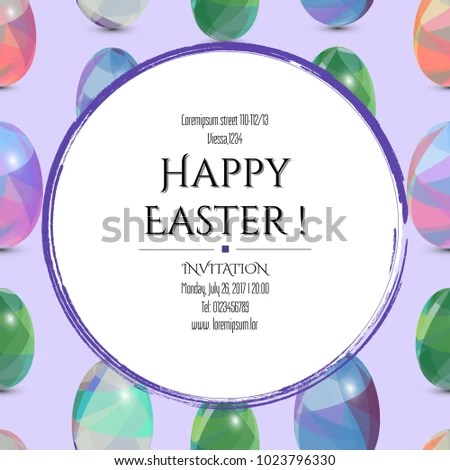 Happy Easter Invitation Card 3 D Easter Stock Vector (Royalty Free