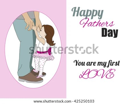 Happy Fathers Day Card Dad Daughter Stock Vector (Royalty Free
