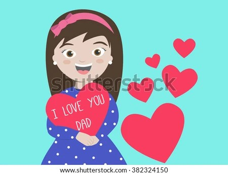 Happy Fathers Day Card Daughter Holding Stock Vector (Royalty Free