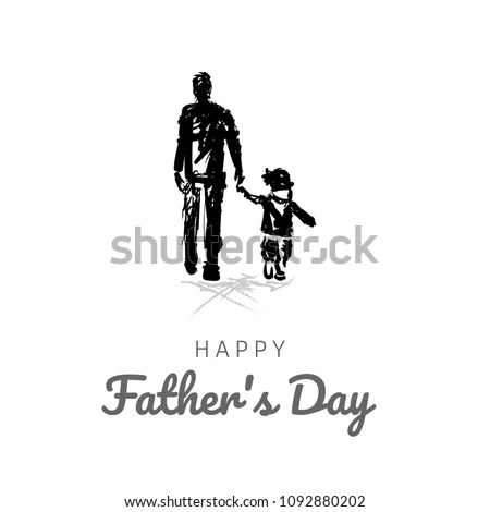 Happy Fathers Day Card Design Template Stock Vector (Royalty Free