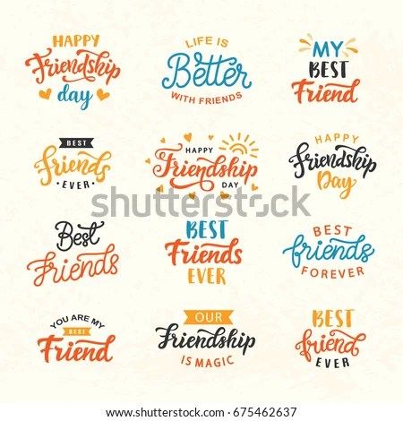 Happy Friendship Day Hand Lettering Big Stock Vector (Royalty Free