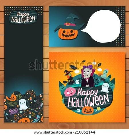 Happy Halloween Brochure Template Dracula Zombie Stock Vector