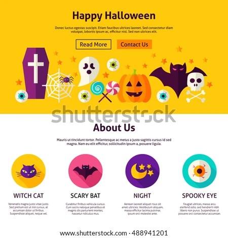 Happy Halloween Web Design Template Flat Stock Vector (Royalty Free