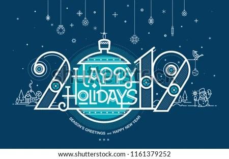 Happy Holidays Seasons Greetings Happy New Stock Vector (Royalty