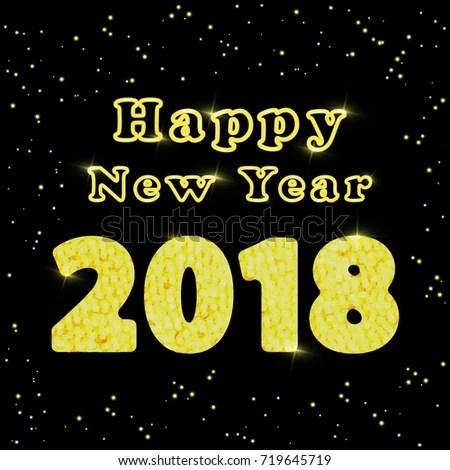 Happy New Year 2018 Words Congratulations Stock Vector (Royalty Free