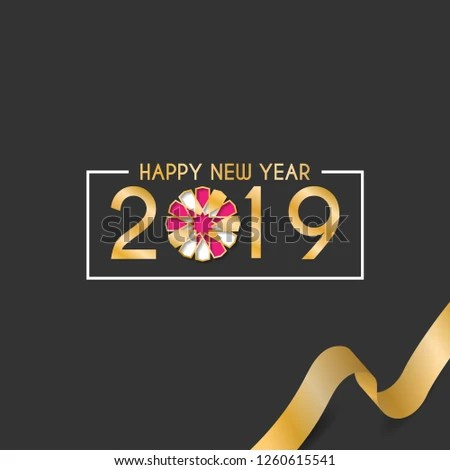 Happy New Year 2019 Design Template Stock Vector (Royalty Free
