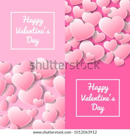 Happy Valentines Day Greeting Card Templates Stock Vector (Royalty