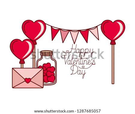 Happy Valentines Day Label Isolated Icon Stock Vector (Royalty Free