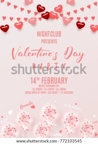 Happy Valentines Day Party Invitation Poster Stock Vector (Royalty - 's day party invitation