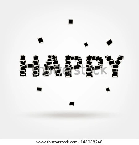 Happy Word Made Photo Frames Insert Stock Vector (Royalty Free