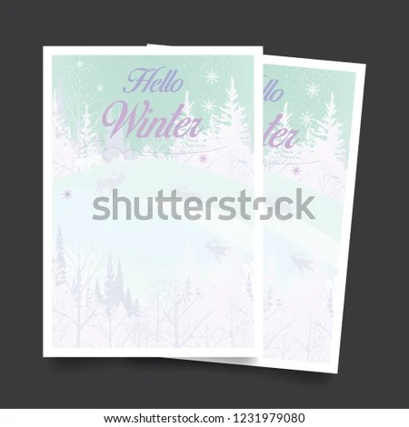 Hello Winter Flyer Template Vector Stock Vector (Royalty Free