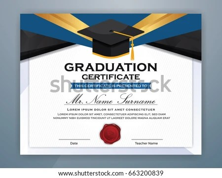 High School Diploma Certificate Template Design Stock Vector