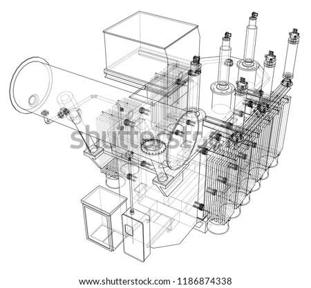 Highvoltage Transformer Concept Vector Rendering 3 D Stock Vector