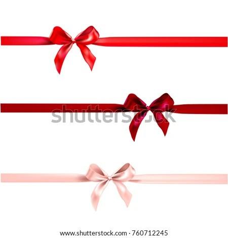 Holiday Bow Decor Horizontal Ribbon On Stock Vector (Royalty Free