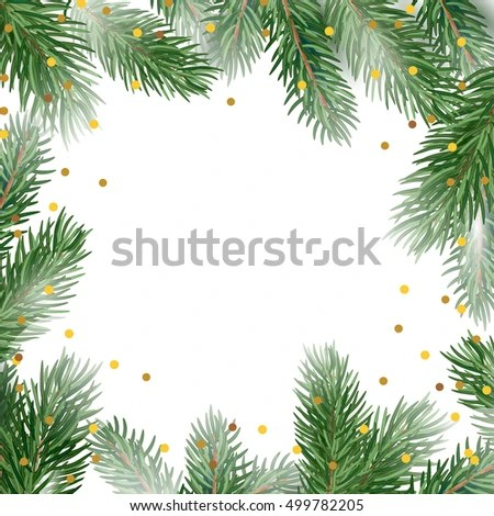 Holiday Card Template Fir Tree Branches Stock Vector (Royalty Free