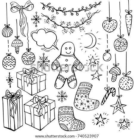 Holiday Collection Set Christmas Cookie Snowflakes Stock Vector