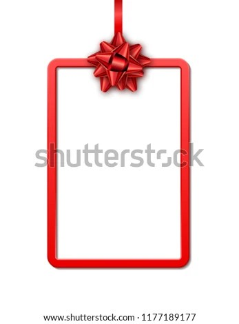 Holiday Gift Card Red Frame Ribbon Stock Vector (Royalty Free