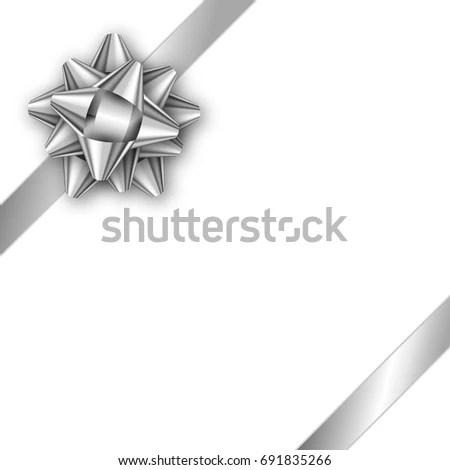 Holiday Gift Card Silver Ribbon Bow Stock Vector (Royalty Free