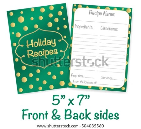 Holiday Recipe Card Template Vector On Stock Vector (Royalty Free