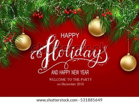 Holidays Greeting Card Winter Happy Holidays Stock Vector (Royalty