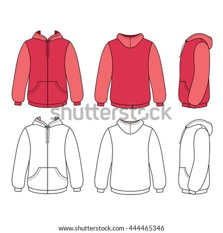 Hoodie Sweater Template Front Side Back Stock Vector (Royalty Free