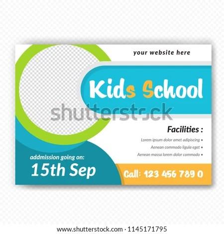 Horizontaal Back School Flyer Design Stranded Stock Vector (Royalty