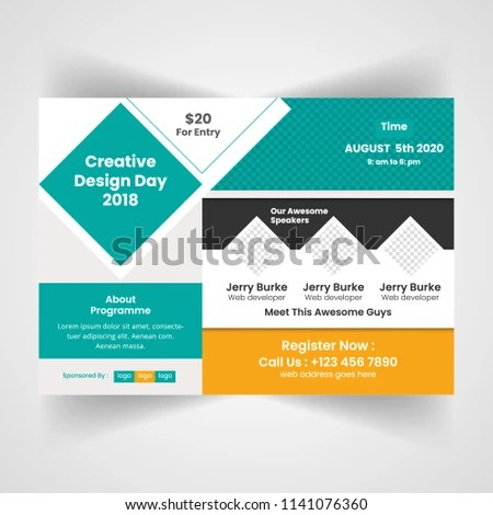 Horizontal Business Conference Brochure Flyer Design Stock Vector