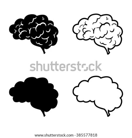 Human Brain Vector Icon Set Line Stock Vector (Royalty Free
