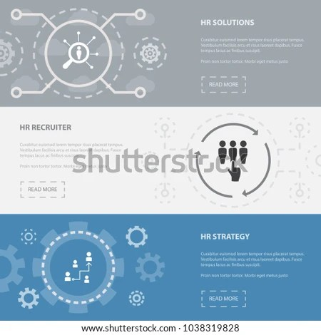 Human Resources 3 Horizontal Webpage Banners Stock Vector (Royalty