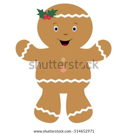 Icon Cute Baby Christmas Cookie Template Stock Vector (Royalty Free
