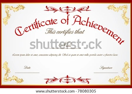 Illustration Template Certificate Achievement Stock Vector (Royalty
