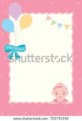 Illustration Vector Baby Shower Template Design Stock Vector