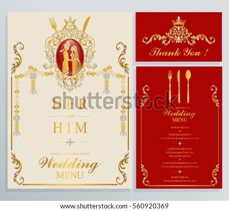 Indian Wedding Menu Card Templates Gold Stock Vector (Royalty Free