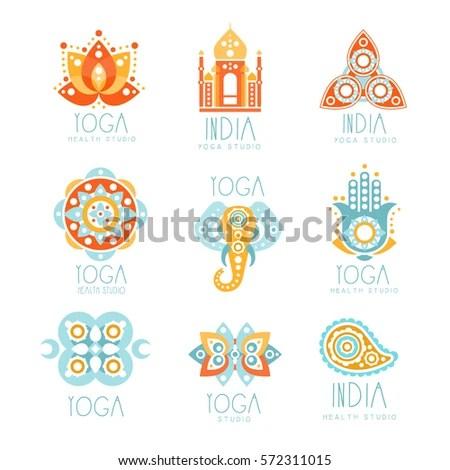 Indian Yoga Studio Set Colorful Promo Stock Vector (Royalty Free