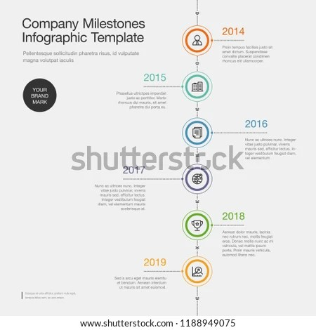 Infographic Company Milestones Timeline Template Colorful Stock