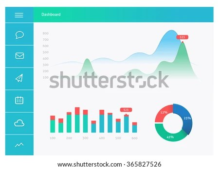 Infographic Dashboard Template Flat Design Graphs Stock Vector